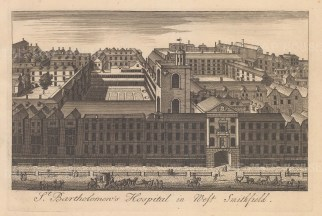 "Stow: St Bartholomew's Hospital. c1750. An original antique copper engraving. 9"" x 6"". [LDNp10880]"