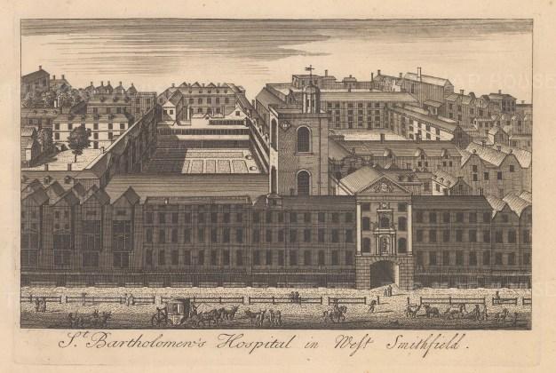 "Stow: St Bartholomew's Hospital. c1750. An original antique copper engraving. 9"" x 6"". [LDNp10880]"