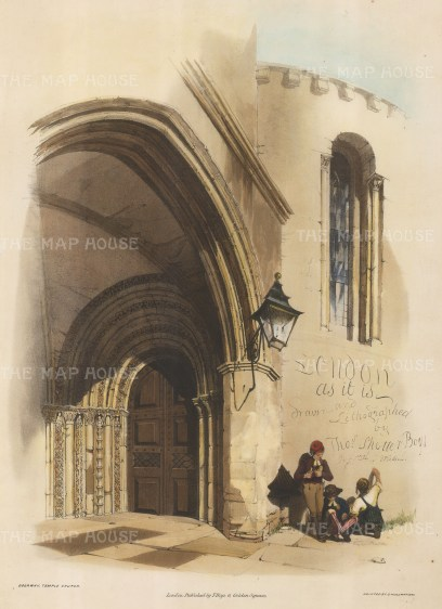 "Doorway Temple Church. Frontispiece. ""London. As It Is. Drawn and lithographed by Thomas Shotter Boys. 90 Great Portland Street"" graffiti'd onto the wall right of the doorway by three young children. Finished with hand colouring."