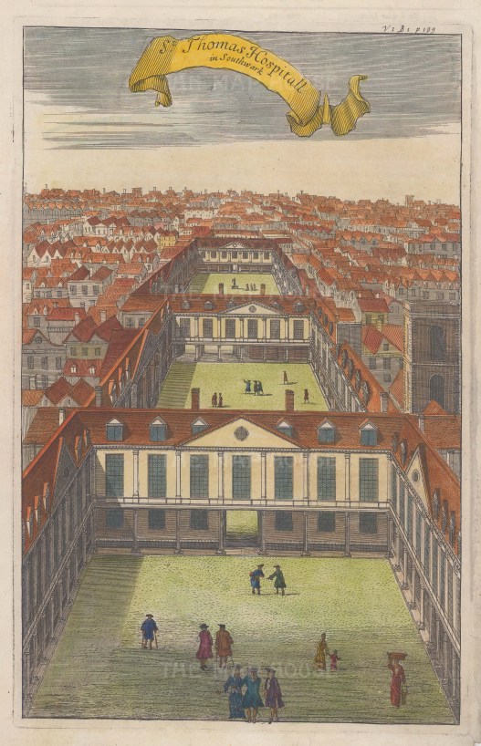 "Stow: St. Thomas's Hospital. 1755. A hand coloured original antique copper engraving. 13"" x 9"". [LDNp6436]"