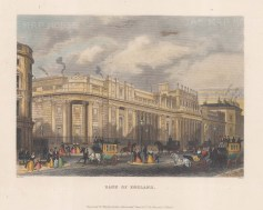 "Shepherd: Bank of England. c1840. A hand coloured original antique steel engraving. 10"" x 8"". [LDNp8428]"