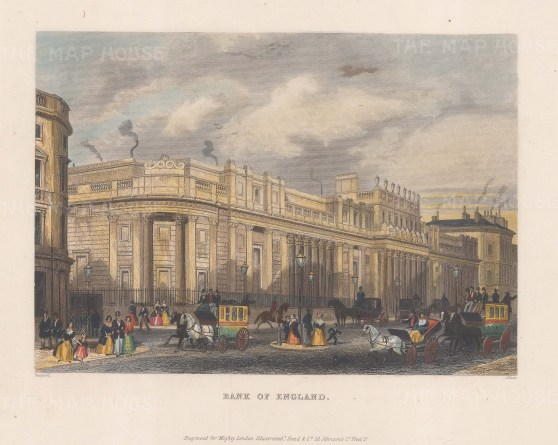"Shepherd: Bank of England. c1840. A hand coloured original antique steel engraving. 10"" x 8"". [LDNp8428]"