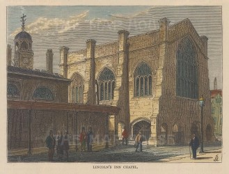 "Old & New: Lincoln's Inn Chapel. c1880. A hand coloured original antique wood engraving. 6"" x 4"". [LDNp9055]"