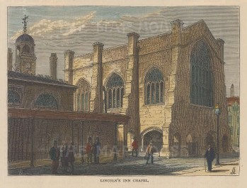 """Old & New: Lincoln's Inn Chapel. c1880. A hand coloured original antique wood engraving. 6"""" x 4"""". [LDNp9055]"""