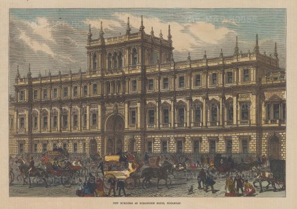 """Illustrated London News: Royal Academy. 1858. A hand coloured original antique wood engraving. 14"""" x 10"""". [LDNp9533]"""