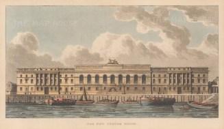 "Papworth: Custom House. 1816. An original colour antique aquatint. 10"" x 6"". [LDNp9638]"