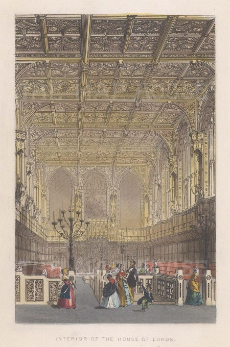 """Tallis: House of Lords. 1851. A hand coloured original antique steel engraving. 4"""" x 6"""". [LDNp9757]"""