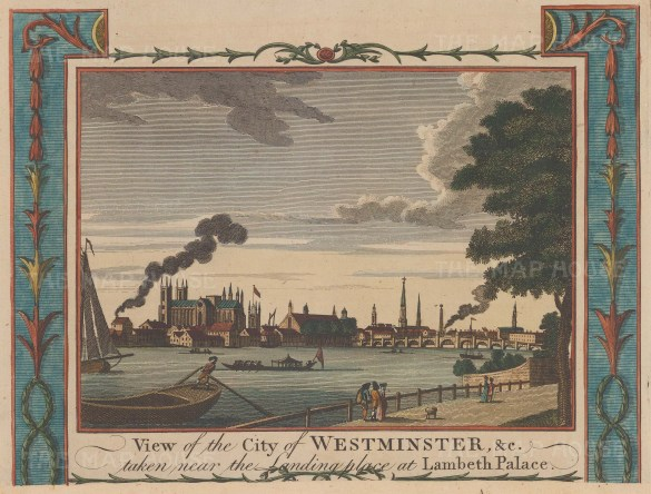 View of Westminster Abbey and old Westminster Bridge from Lambeth Palace.