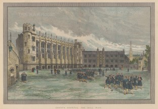 """Illustrated London News: Christ's Hospital. 1893. A hand coloured original antique wood engraving. 19"""" x 13"""". [LDNp9825]"""
