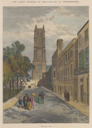 """Illustrated London News: Westminster School. 1890. A hand coloured original antique wood engraving. 10"""" x 13"""". [LDNp9830]"""