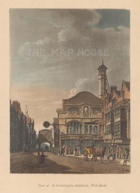 "Papworth: St Dunstan's, Fleet Street. 1816. An original colour antique aquatint. 5"" x 7"". [LDNp9991]"