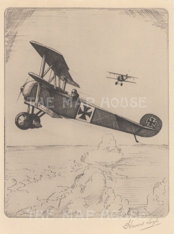 Single seater fighter. Signed in pencil with text on verso.