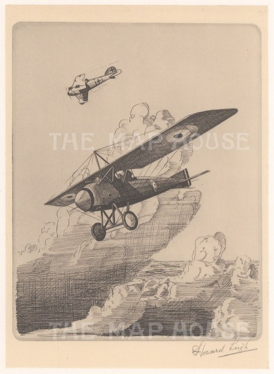 Two seater tractor high winged monoplane: Signed in pencil with text on verso.
