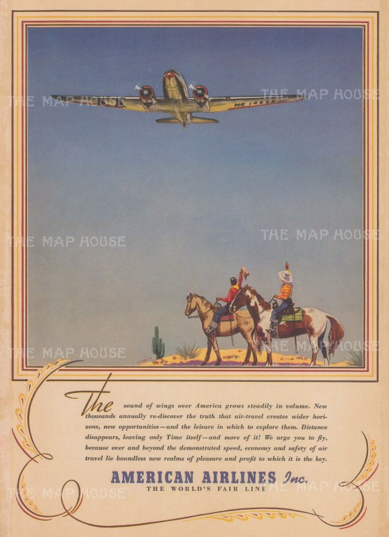 """New York Times: American Airlines. 1939. An original antique colour print. 20"""" x 14"""". [AVIp54]"""