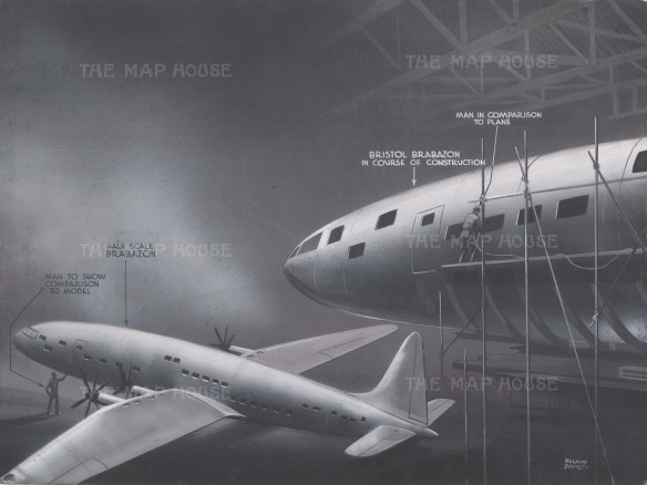 View of the plane under construction with a half scale model as comparison. After Roland Davies.