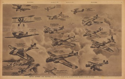 British Bombers and Fighters. Types of military aircraft forming equipment of R.A.F. squadrons at home and abroad.