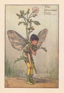 "Barker: Groundsel Fairy. c1927. An original vintage chromolithograph. 3"" x 4"". [DECp1661]"