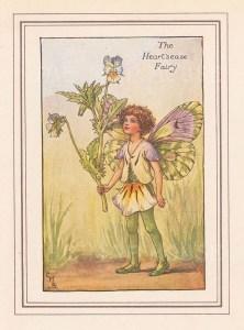 "Barker: Heart's ease Fairy. c1923. An original vintage chromolithograph. 3"" x 4"". [DECp2081]"