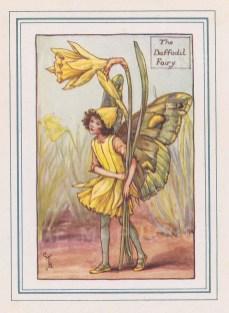 "Barker: Daffodil Fairy. c1923. An original vintage chromolithograph. 3"" x 4"". [DECp549]"