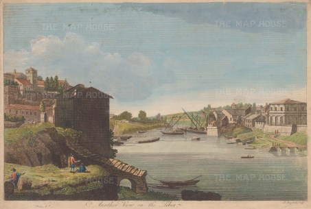 "Boydell: Tiber River. c1790. An original colour antique copper engraving. 14"" x 10"". [ITp1848]"