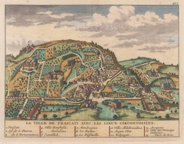 "van der Aa: Frascati. 1727. A hand coloured original antique copper engraving. 7"" x 5"". [ITp1943]"
