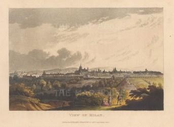 """Ackermann: Milan. 1820. An original colour antique aquatint. 8"""" x 6"""". [ITp1959]"""