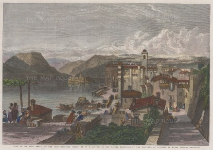 """Illustrated London News: Lago Maggiore. 1867. A hand coloured original antique wood engraving. 14"""" x 10"""". [ITp1962]"""