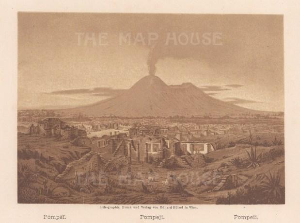"""Baedeker: Pompeii. c1900. An original colour antique lithograph. 7"""" x 5"""". [ITp1992]"""