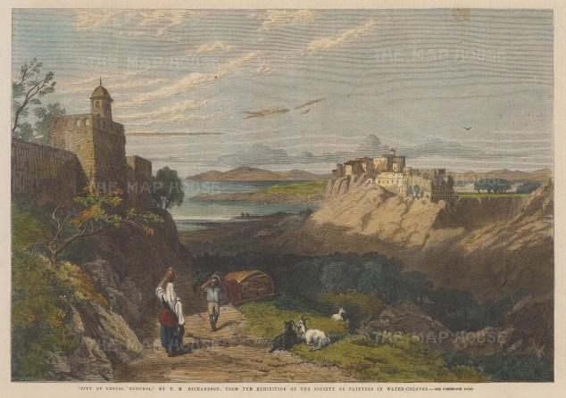 "Illustrated London News: Chiusi. 1864. A hand coloured original antique wood engraving. 14"" x 10"". [ITp2044]"