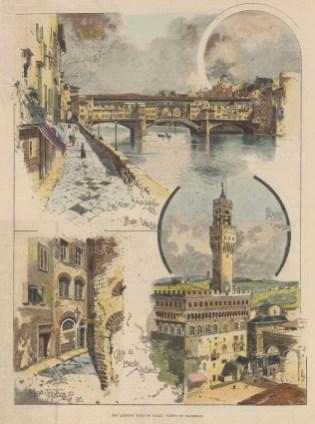 Ponte Vechio, with the Palazzo Vecchio and Casa di Dante Alighieri.