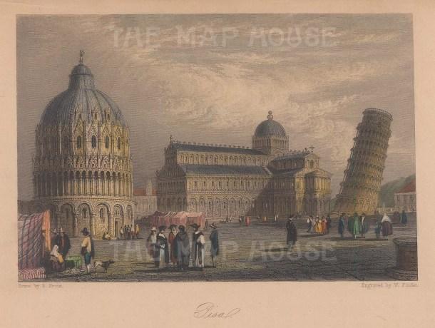 "Murray: Pisa. 1835. A hand coloured original antique steel engraving. 6"" x 5"". [ITp2152]"