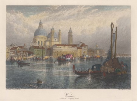 """Cassell & Co.: San Marco, Venice. 1850. A hand coloured original antique steel engraving. 10"""" x 8"""". [ITp2158]"""