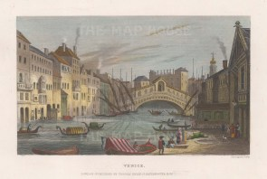 "Kelly: Ponte Rialto, Venice. 1837. A hand coloured original antique steel engraving. 7"" x 5"". [ITp2164]"