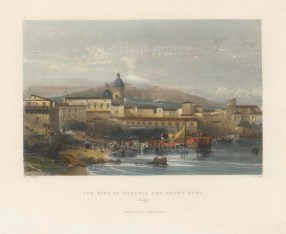 "Fisher: Catania, Sicily. c1840. A hand coloured original antique steel engraving. 8"" x 7"". [ITp2219]"