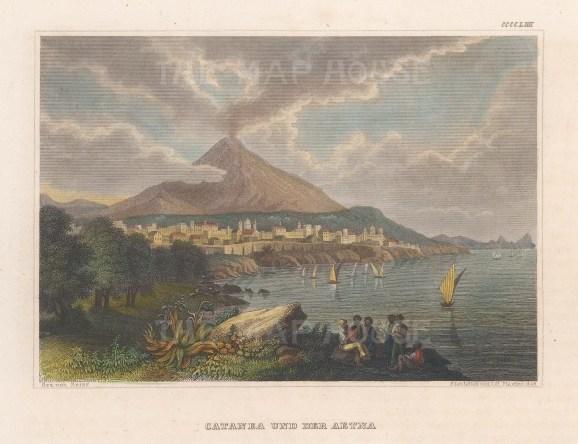 """Meyer: Catania, Sicily. 1839. A hand coloured original antique steel engraving. 6"""" x 4"""". [ITp2249]"""