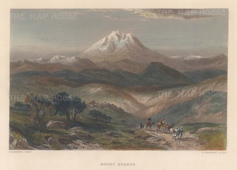 "Wilson: Mount Hermon.1886. A hand coloured original antique steel engraving. 10"" x 6"". [MEASTp1718]"