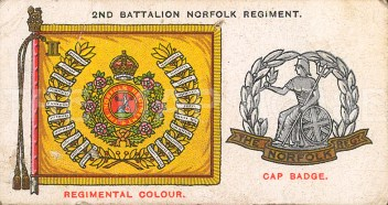 2nd Battalion Norfolk Regiment, amalgamated to the Royal Anglican Regiment. Cap badge and colours.