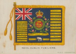 "BDV Cigarettes: Royal Dublin Fusiliers. c1900. Original printed colour on silk. 6"" x 4"". [MILp115]"