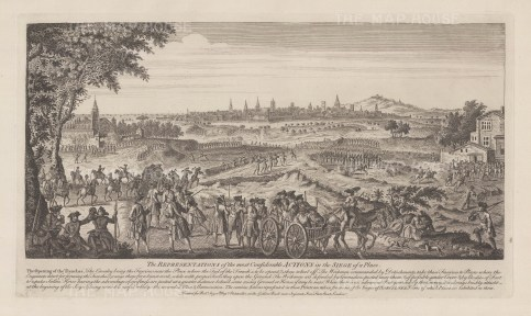 Showing the opening of trenches as a technique in battle. Based upon the Siege of Barcelona in 1714 during the War of Spanish Succession.
