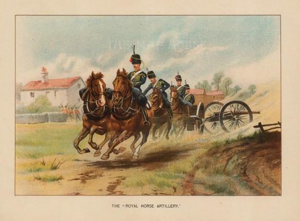 "Richards: Royal Horse Artillery, King's Troop. c1890. An original antique chromolithograph. 9"" x 7"". [MILp17]"
