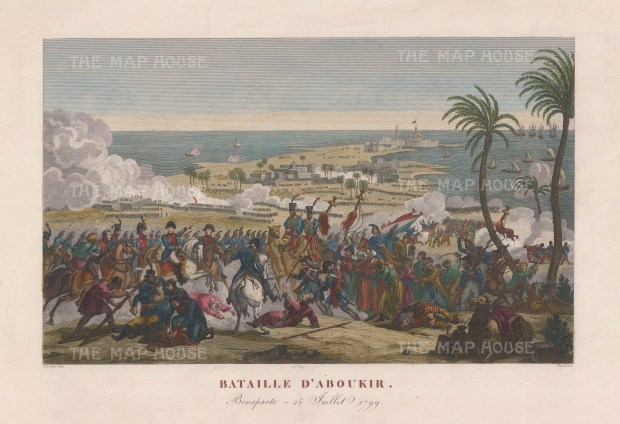Battle of Aboukir. Bonaparte leading the battle in 1799 to defeat the Ottoman Army.
