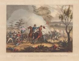 Battle of Albuera. Marshal Beresford disarming a Polish lancer. After William Heath.