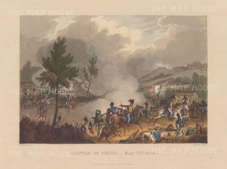 Battle of Grijo1809. The successful defeat by Wellington of the 2nd attempt to invade Portugal. After William Heath.