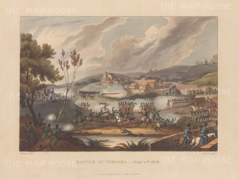 Battle of Vimiera, 1808. Wellington's defeat of the first French attempt to invade Portugal. After William Heath.
