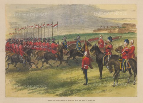 Indian Cavalry at Malta. Review of troopers by HRH the Duke of Cambridge.