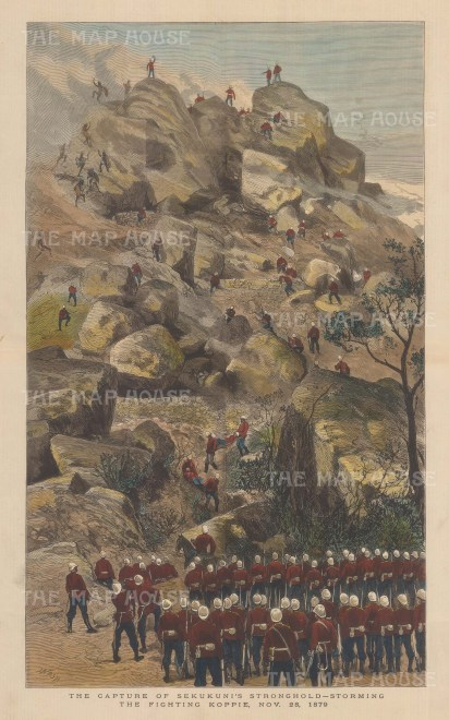 Capture of Sekukuni's Stronghold. British troops storming the citadel.