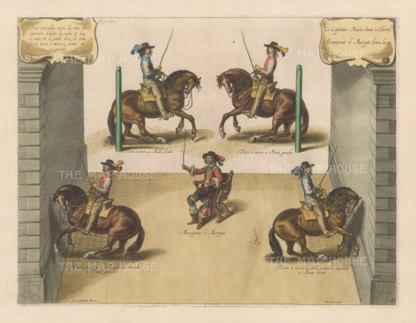 Four techniques. Riding close to the ground on the right and left rein. Riding to the wall on the right and left rein.