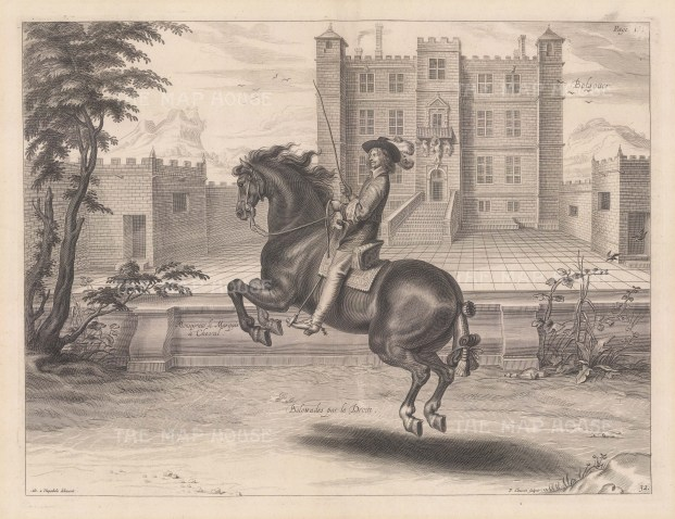 Balottades par le Droite. With Bolsover Castle in the background. Plate 32.
