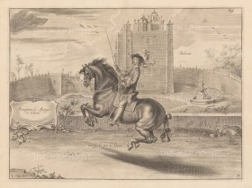 Groupades par le Droite. With Bolsover Castle in the background. Plate 31.