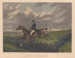 """Engleheart: Clearing the fence. c1840. A hand coloured original antique steel engraving. 8"""" x 6"""". [NATHISp6968]"""